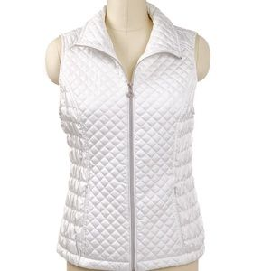Marc New York White Quilted Vest Full Zip Pockets